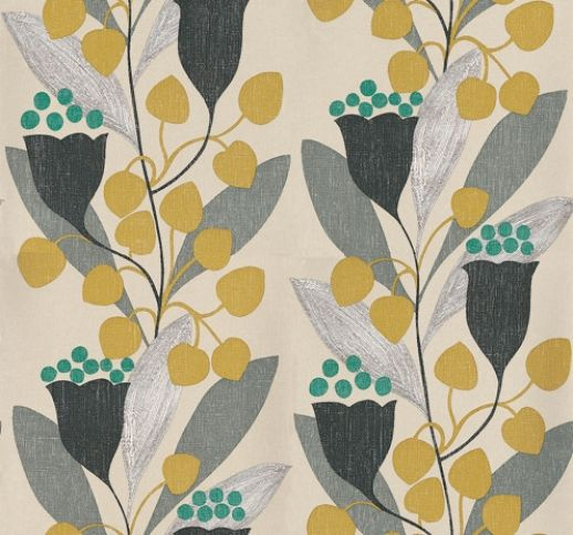 Bellflower (211654) - Sanderson Wallpapers - A bold stencilled pattern of abstract flowers and foliage printed in glowing colours.  Shown in the Charcoal/Lime colourway, shades of green and grey on a stone background. Wide width, paste the wall. Please request sample for true colour match.