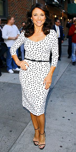 JULIA LOUIS-DREYFUS  Veep's star is spotted in a polka-dot dress, strappy sandals and Irene Neuwirth earrings during a visit The Late Show with David Letterman in N.Y.C.