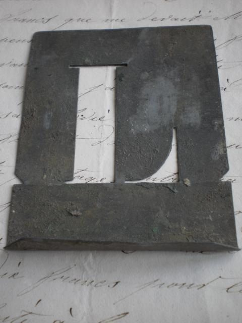 Shabby antique French zinc toleware stencil printing letters
