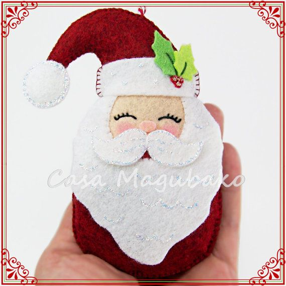 PDF Pattern Santa Claus Ornament Felt Pattern by CasaMagubako
