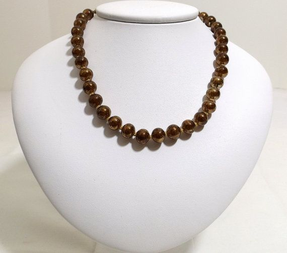 JAPAN Brown Mirror Bead Necklace ca. 1940's by katscache. Explore more products on http://katscache.etsy.com
