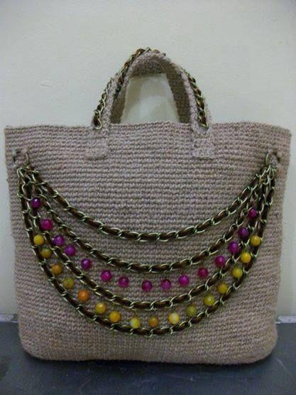 Jute fiber tote bag #Crochet #CrochetBag #Bag #CrochetJute #JuteFiber #Jute