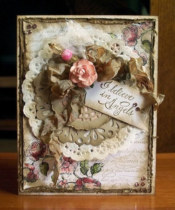 I Believe in Angels Shabby Chic Inspirational card. The elements for this card came from another beautiful kit that I purchased.