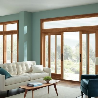Wood trim with blue green wall paint colors living for Living room ideas oak