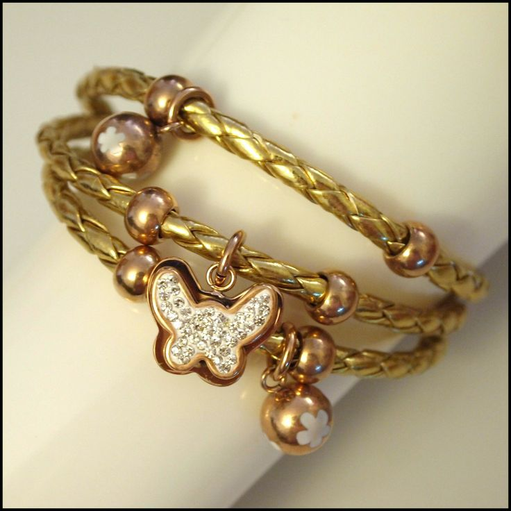 Leather Layered Magnetic Butterfly Bracelet Rose Gold on Gold
