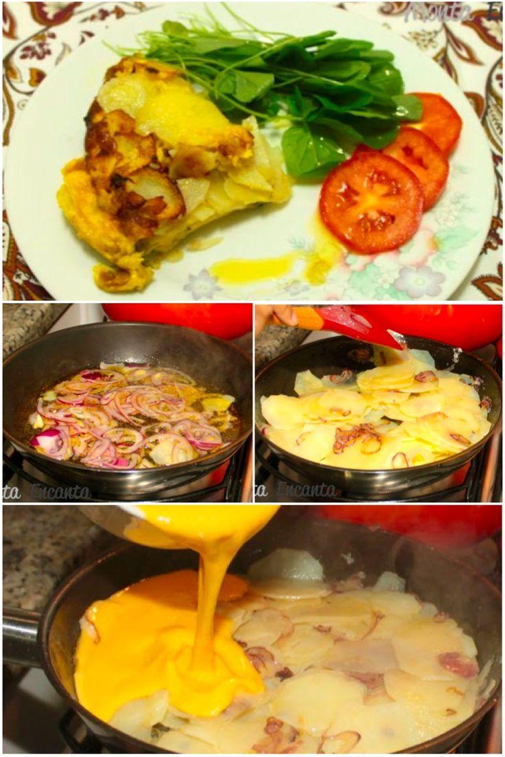 Olá para tortilha… Quem quer? Eu adoro uma comidinha prática, rápida e saudável, e você? Tortilha Espanhola, a versão espanhola da nossa fritada com batata. Deliciosa!!!! E bem prática de faz…