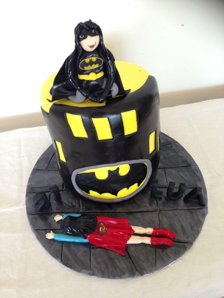 Bat Girl vs Supper Girl cake