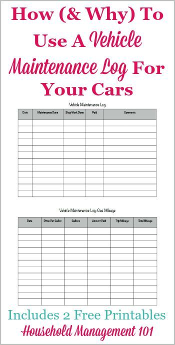 How and why to use a vehicle maintenance log for your cars, including 2 free printables, one for maintenance and one for gas mileage {on Household Management 101}