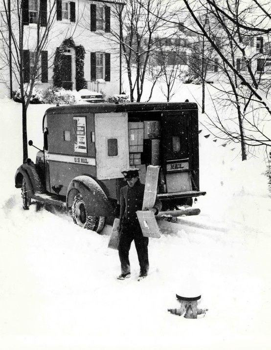 Vintage christmas - mailman delivering packages in the snow.