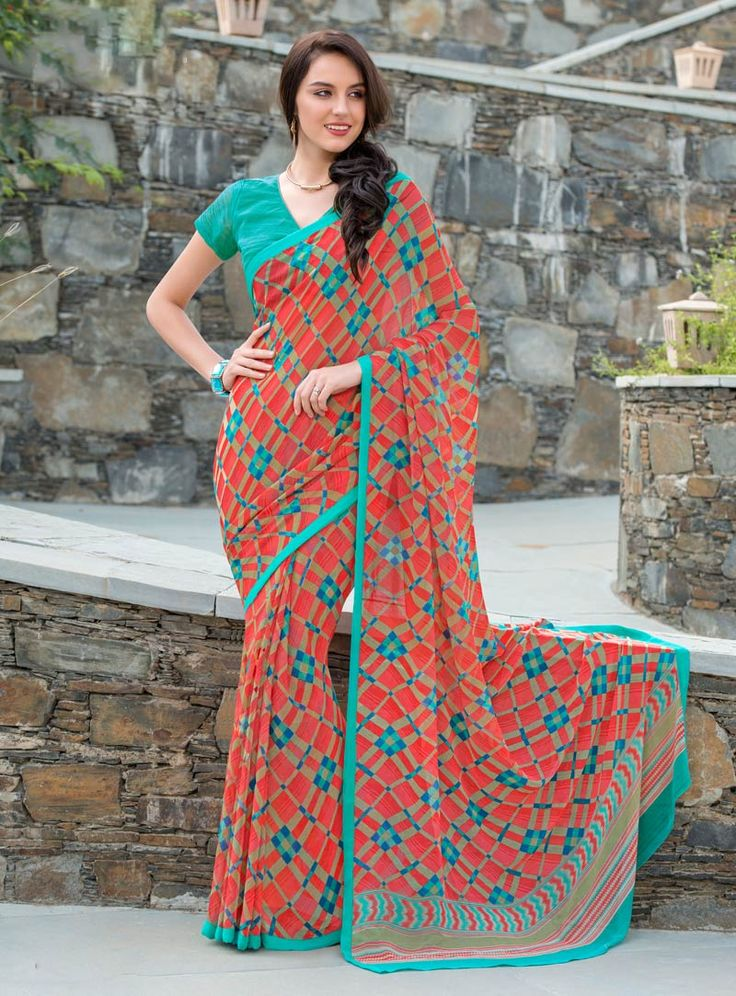 Orange Georgette Printed Saree With Blouse 80538