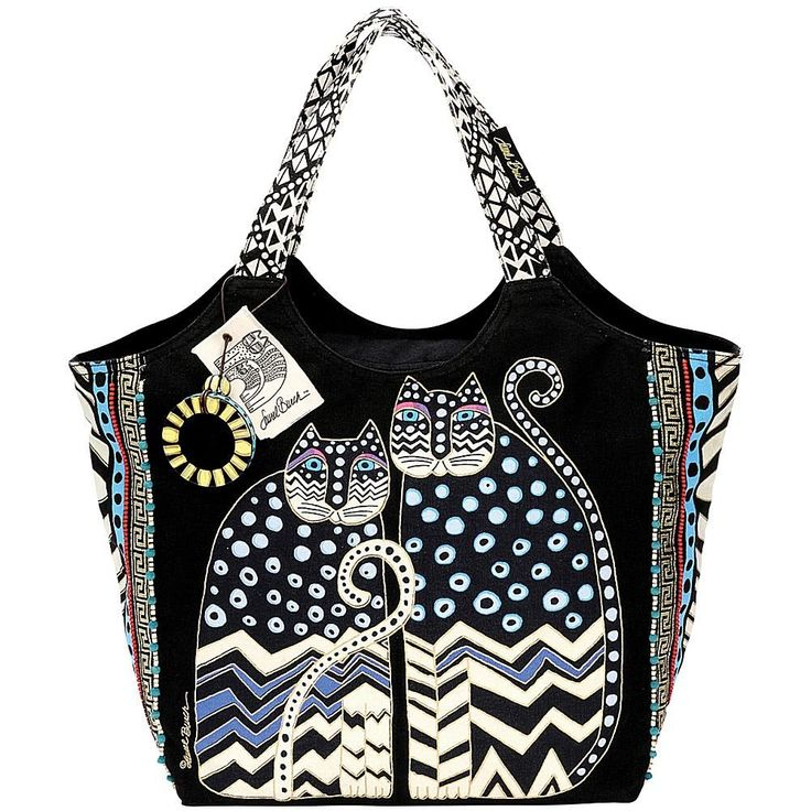LAUREL BURCH Large Scoop Tote with Zipper Top - Spotted Cats