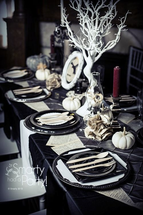 edgar allan poe themed dinner party inspiration by smarty had a party halloween perfect although i would place a few black ravens on the tree branches - Black And White Halloween Party