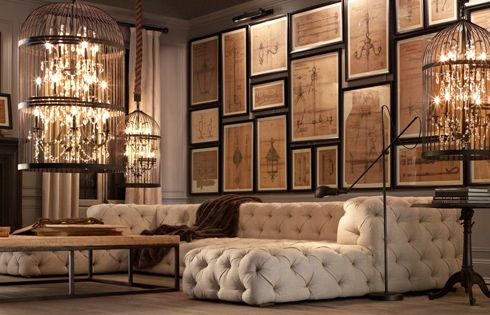 chandeliers: Wall Art, Living Rooms, Restoration Hardware, Couch, Frames, Galleries Wall, Birdcages Chandeliers, Birds Cage, Pictures Wall