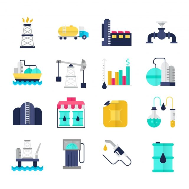 Oil Industry Flat Icons Set Chemical Analysis Drilling Rig Fuel Png And Vector With Transparent Background For Free Download Flat Icons Set Flat Icon Oil Industry
