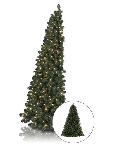 The My Better Half Christmas Tree has a unique profile that gives it the appearance of a full tree. But wait, take a closer look. Its flat back hugs your wall, saving you precious floor space.