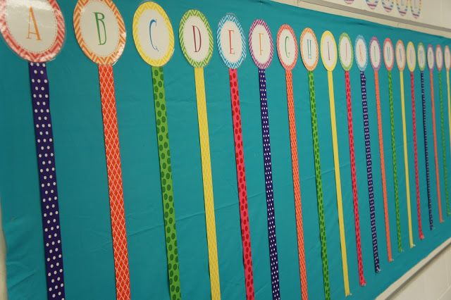 Create a word wall with ribbons. I used velcro to attach all of my vocabulary cards.