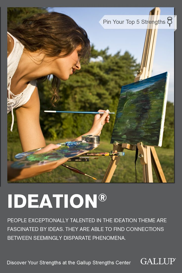 Being spontaneously creative and fascinated by new ideas are signs of the Ideation strength. Discover your strengths at Gallup Strengths Center. www.gallupstrengthscenter.com