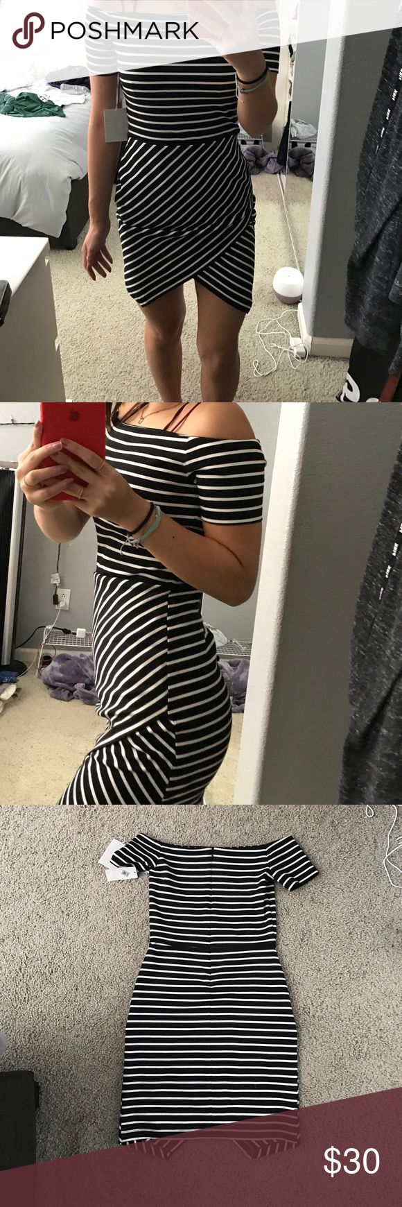 Off the shoulder bodycon dress super cute striped off the shoulder bodycon dress! In the back the stitches came out BUT NOT A HOLE it's like 2 layers! Never worn! Bought it at NORDSTROM RACK LIKE THAT. Make offers! 1. State Dresses Mini
