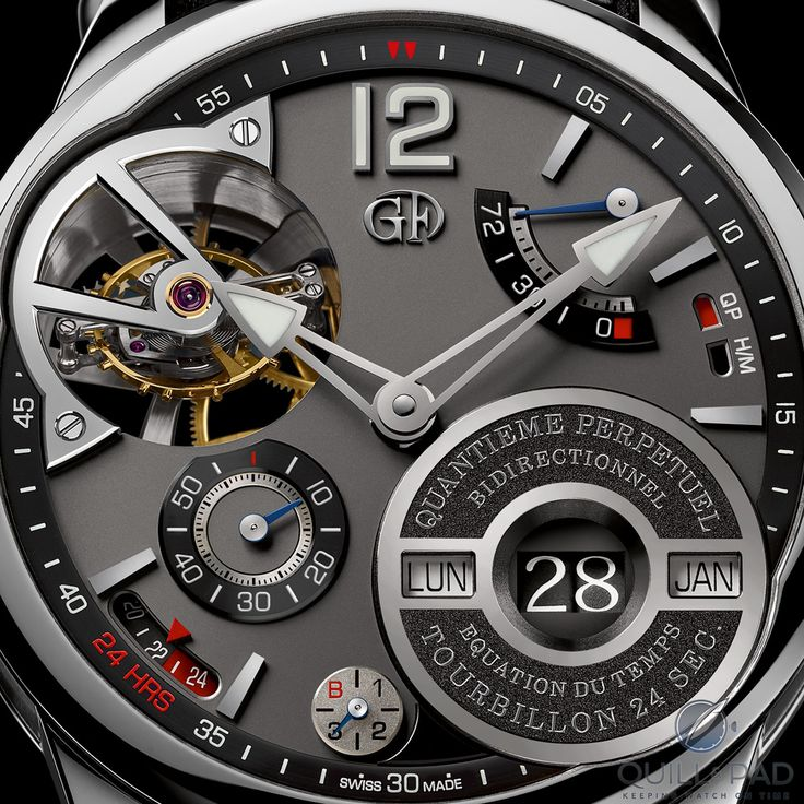 Close up of the dial of the Greubel Forsey Quantième Perpétuel à Équation. At 6 o'clock you can see the small indication for the leap year (B for bisextile, which is French for leap year). To the left of that is a 24-hour display, with areas in red (around midnight) indicating that it isn't possible to set the calendar