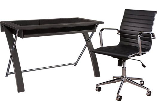 shop for a patrick black desk and chair at rooms to go find desks that will look great in your. Black Bedroom Furniture Sets. Home Design Ideas
