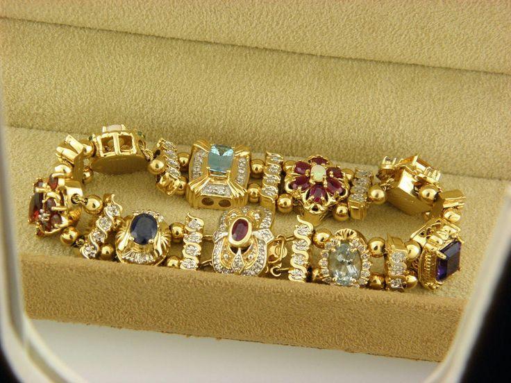 Victorian Antique Gemstone & Diamonds Slide Charm Bracelet Solid 14K Gold #KLJCI #Statement ebay