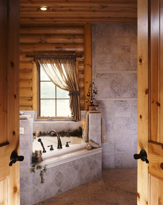 404 best log homes and timber frame homes images on for Log cabin bathroom pictures