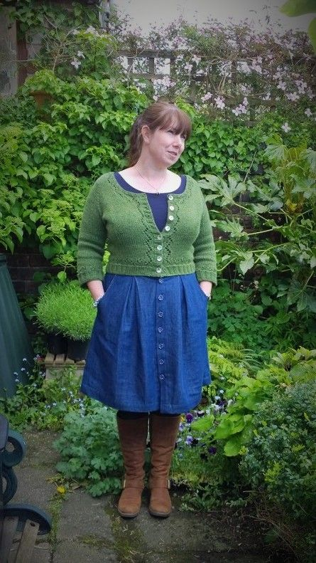 #mmm14 day six Denim Megan Nielsen Kelly skirt with Green Miette cardigan