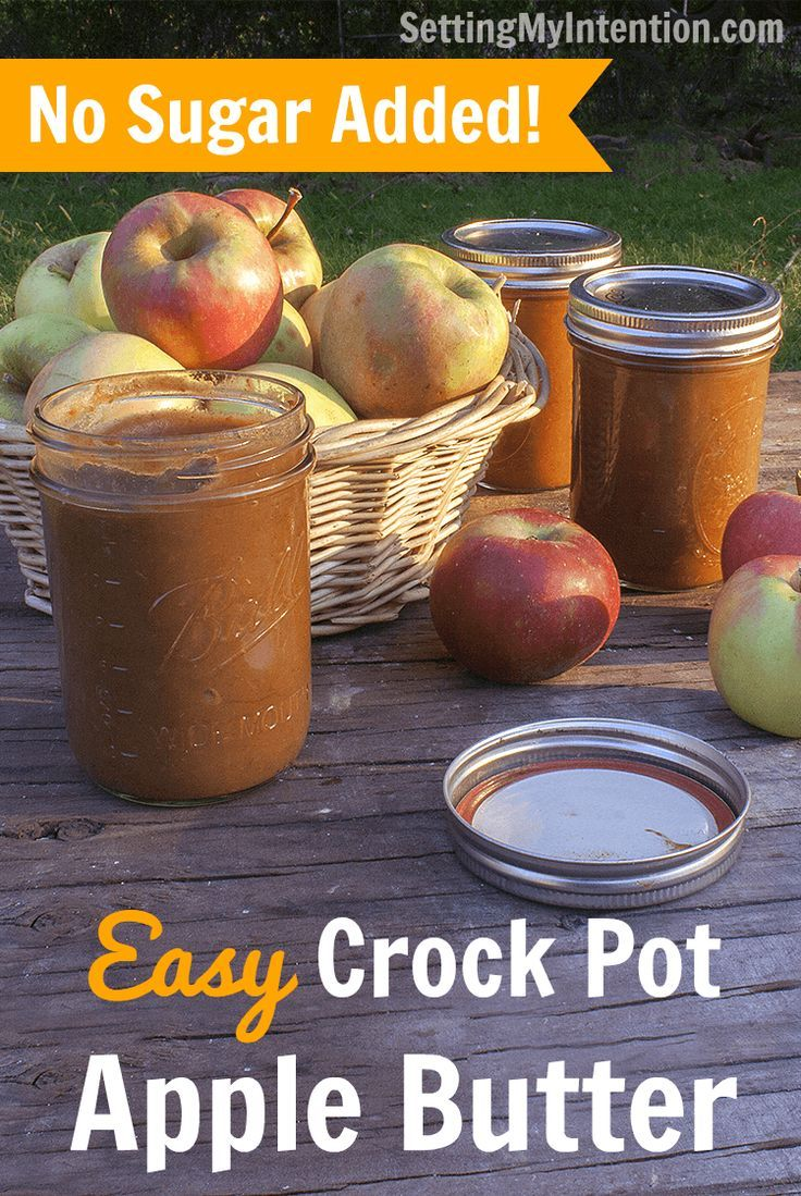 Easy  and delicious apple butter recipe for the slow cooker. No sugar added!