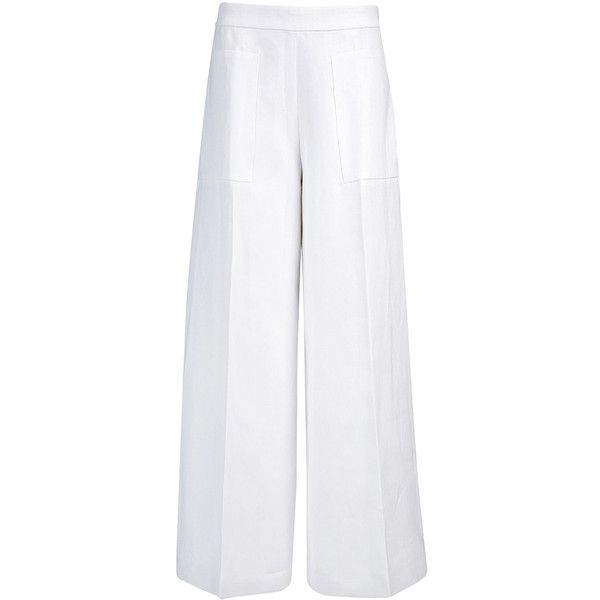 Joseph Ramie Cotton Aggie Trouser in OFF WHITE ($253) ❤ liked on Polyvore featuring pants, off white, lightweight cotton pants, off white pants, wide leg pants, summer pants and pocket pants