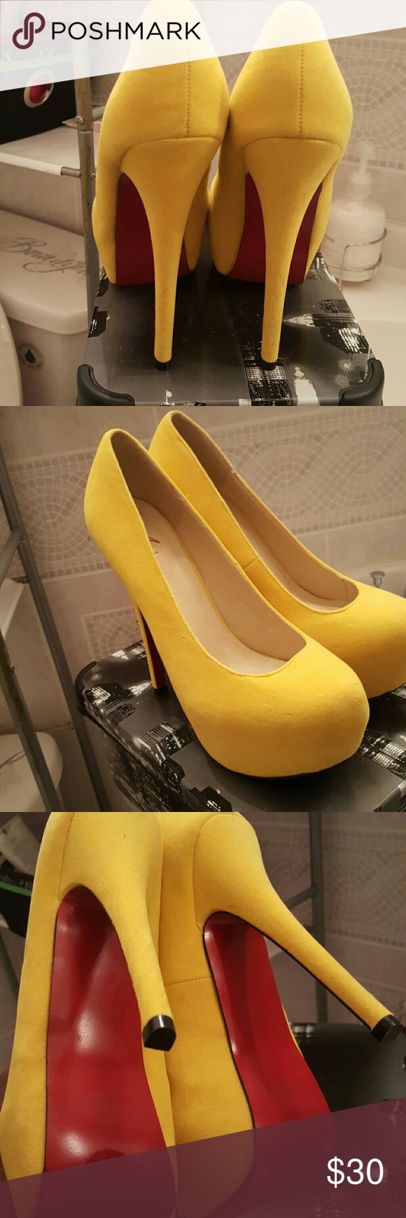 Beautiful yellow high heels with red bottom Yellow heels with red bottom Shoes Heels