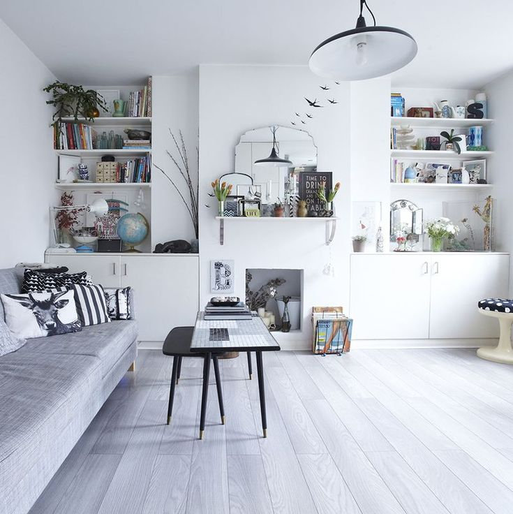 Inspirational interior with pale grey wood floor