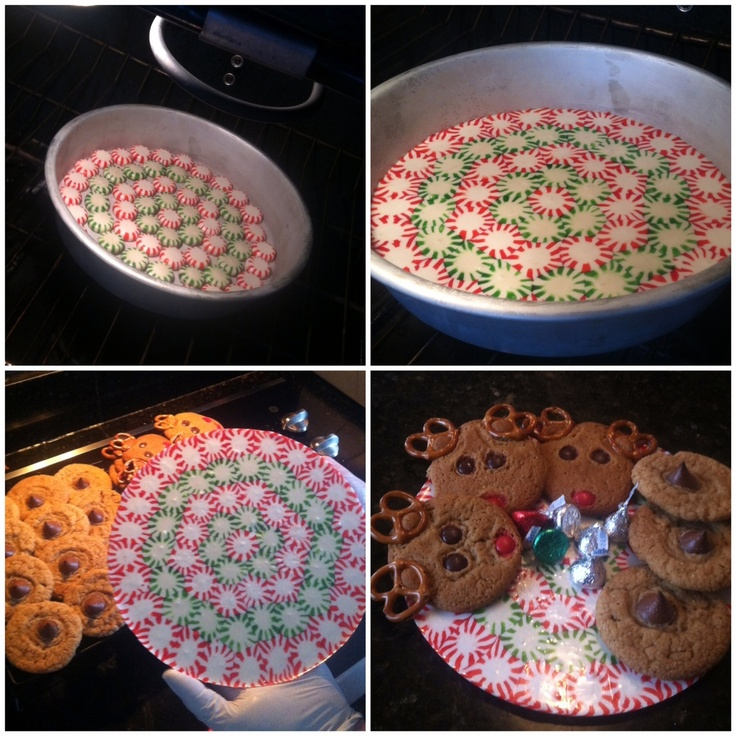 Make a wonderful Christmas Cookie tray using peppermint candies!  Arrange the mints on a piece of parchment paper either on a cookie sheet or in a cake pan, bake for approx. 8 min in a 350 degree oven.  Let it cool down and then pop it out of pan, remove parchment paper and wa la!