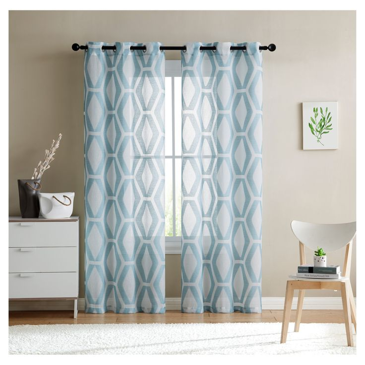 "Gabrielle Window Sheer Panel Pair Aqua (Blue) (38""x84"") - Vcny Home"
