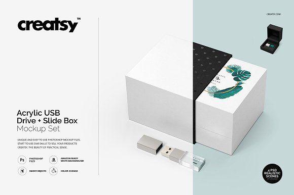 Download Acrylic Usb Drive Slide Box Mockup Box Mockup Slide Box Mockup Design