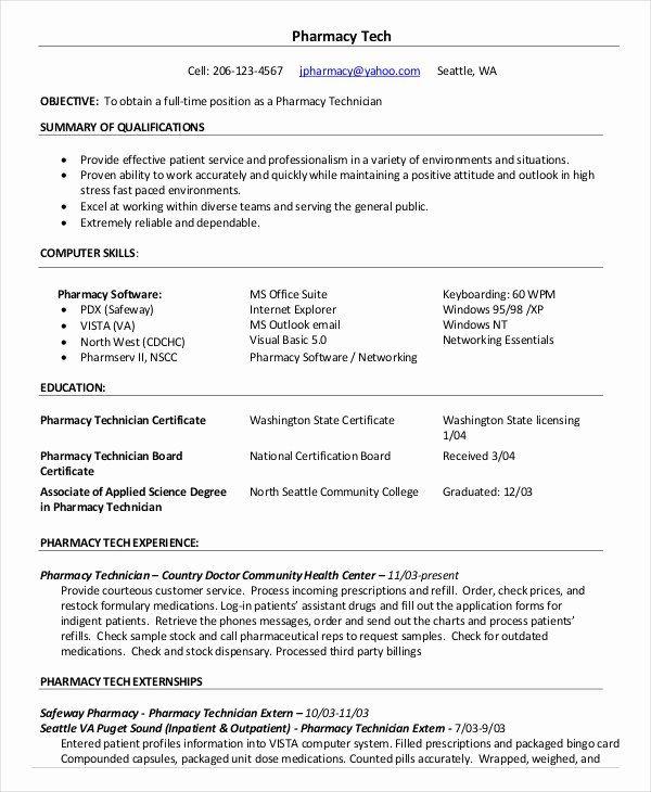 Pharmacy Technician Resume Example Unique 10 Pharmacy Technician Resume Templates Pdf Doc In 2020 Pharmacy Technician Resume Examples Job Resume Examples