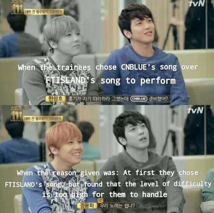 Hongki & Yonghwa's reaction when the trainees chose to sing CNBlue's song. LOL.