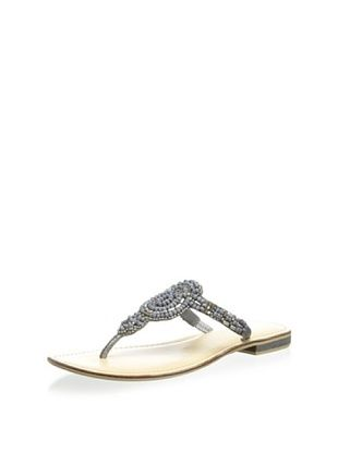 64% OFF Lara + Lillian Women's Shivani Beaded Thong Sandal (Pewter Beaded)