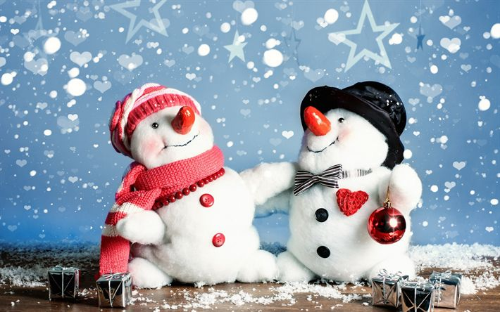 Download wallpapers Merry Christmas, snowmen, toys, New Year, Christmas, winter, snow, Xmas