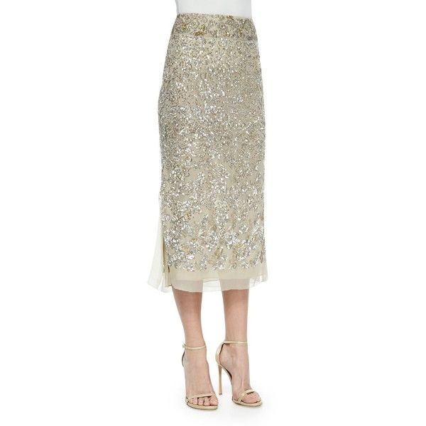 Donna Karan Embroidered Midi Skirt (7,365 ILS) ❤ liked on Polyvore featuring skirts, parchment, high waisted skirts, high-waist skirt, white high waisted skirt, white midi skirts and sequin skirt