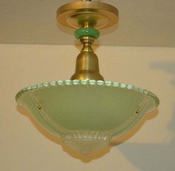 Vintage Green Glass Light Fixture: Vintage Jadeite Green Ceiling Light Fixture, $150.00