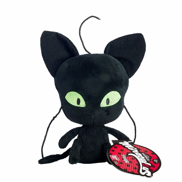 "Bandai Miraculous Ladybug Plagg Black Cat / Chat Noir Kwamii 6"" Plush Toy IN STOCK"