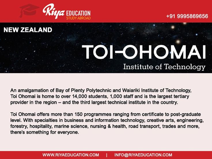 Study in TOI-OHOMAI Institute of Technology, New Zealand !!! For studying abroad get in touch with Riya Education. Visit our website .