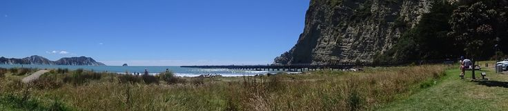Tolaga Bay Wharf - Looking at the wharf from the beach nearby.