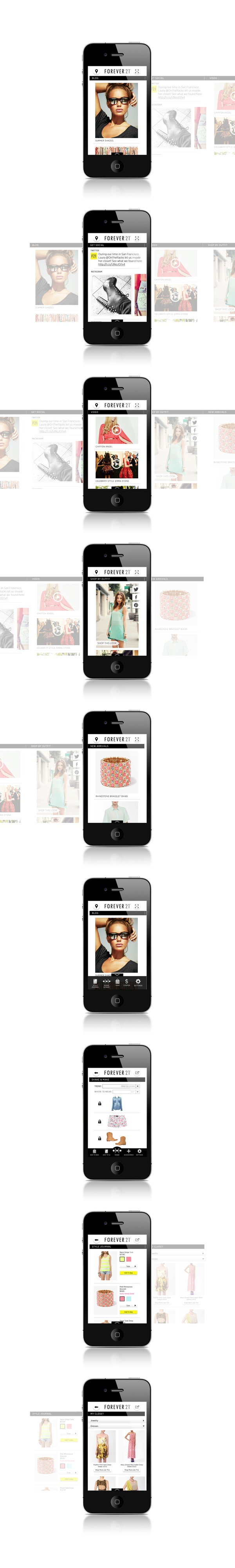Forever 21 Mobile App by Hannah Barganier, via Behance *** With an already established fan base, Forever 21 needs an app that's just as robust and fun as it's stores. Taking advantage of the horizontal and vertical scrolling that more users are becoming comfortable with, the design provides seamless transition between different feeds from the brand as well as multiple mini apps within the app.  *This was the original design proposal and did not go into production.