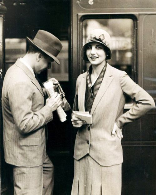 1920s travelers - this is how I imagine Madge & Joey in the Chalet School books, on their big adventure moving to Austria, and their brother Dick went ahead of them with the heavy things...