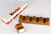"""Kinder Chocolate (""""Kinder"""" is German for """"children"""") is a confectionery product brand line of Italian confectionery multinational Ferrero SpA. Kinder was developed and produced at Ferrero Germany (Frankfurt) in 1967 for the German market. <3"""