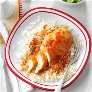 No-Fuss Chicken Recipe -This recipe could hardly be simpler to prepare. The chicken gets a wonderful tangy taste, and no one will know you used convenient ingredients like a bottle of salad dressing and onion soup mix...unless you tell them. -Marilyn Dick, Centralia, Missouri