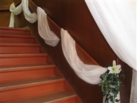 decorating stair rail for wedding - Bing Images