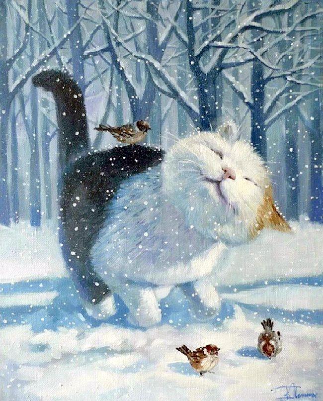 Картинки с котами и собаками зимой рисованные вертикальные, днем рождения другу