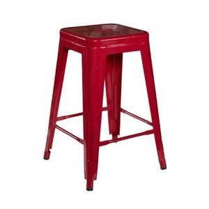 Square Metal Stool Counter/Red